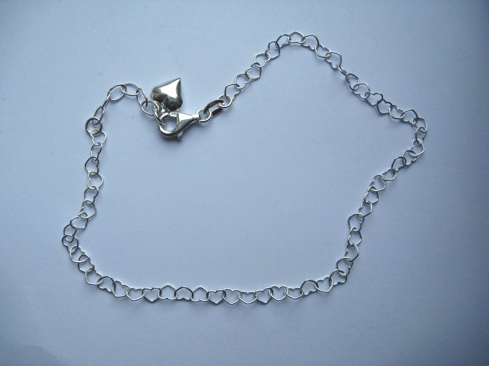 open c girls triple strand silver sterling jewelry and chain inch hearts anklet anklets